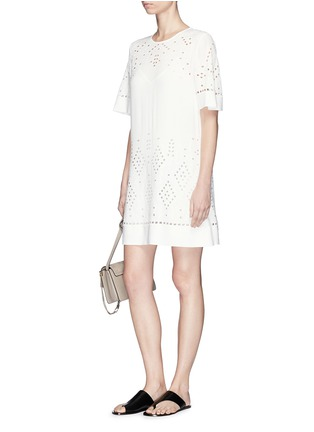 Figure View - Click To Enlarge - THEORY - 'Idetteah' eyelet embroidered crepe shift dress