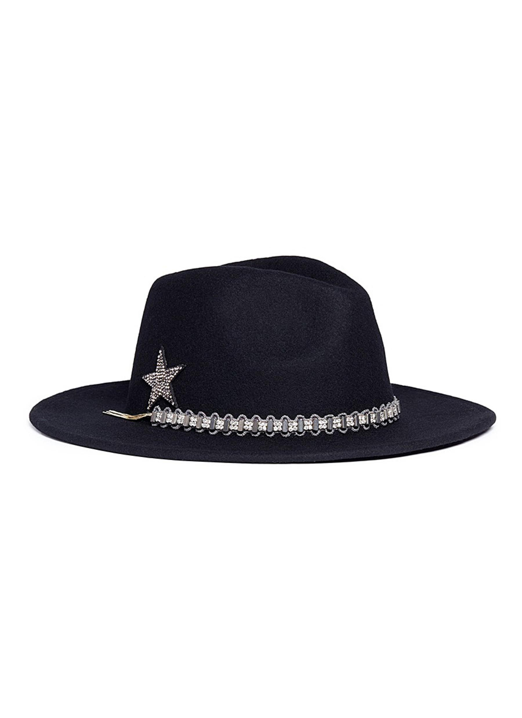 VENNA Jewelled Band Wool Felt Fedora Hat