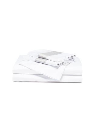 Main View - Click To Enlarge - FRETTE - Bicolore queen size duvet set – White/Cliff Grey