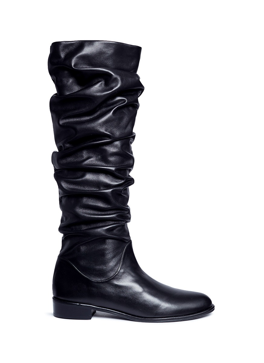 Flats Crunchy slouchy leather knee high boots by Stuart Weitzman