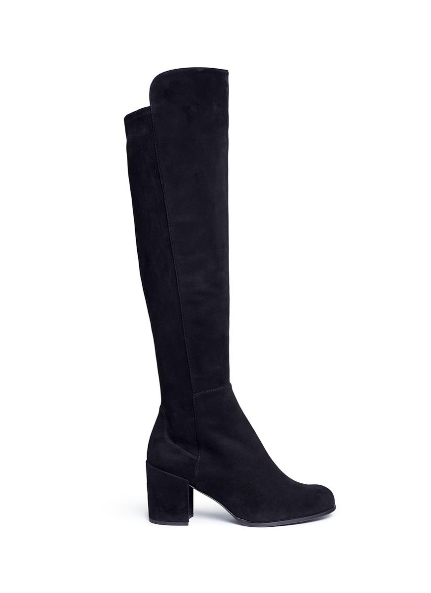 'Alljack' Stretch Suede Knee High Boots in Black Suede