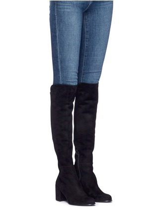Figure View - Click To Enlarge - Stuart Weitzman - 'Alljack' stretch suede knee high boots