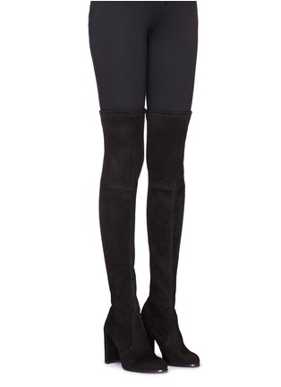 Figure View - Click To Enlarge - Stuart Weitzman - 'Hiline' stretch suede thigh high boots