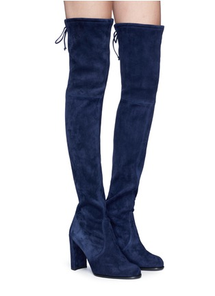 Figure View - Click To Enlarge - Stuart Weitzman - 'Hi Line' stretch suede thigh high boots
