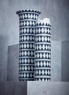 L'Objet Tribal X-large diamond collar vase – Blue