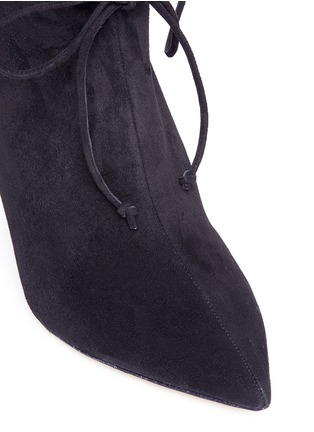 Detail View - Click To Enlarge - ALEXANDER WHITE - 'Camille' serrated cuff suede boots
