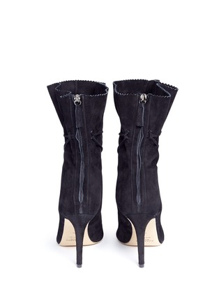 Back View - Click To Enlarge - ALEXANDER WHITE - 'Camille' serrated cuff suede boots
