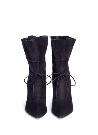 Front View - Click To Enlarge - ALEXANDER WHITE - 'Camille' serrated cuff suede boots