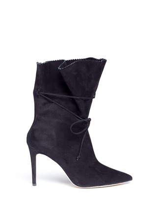 Main View - Click To Enlarge - Alexander White - 'Camille' serrated cuff suede boots