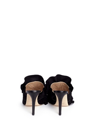Back View - Click To Enlarge - ALEXANDER WHITE - 'Issey' suede ruffle patent leather mules