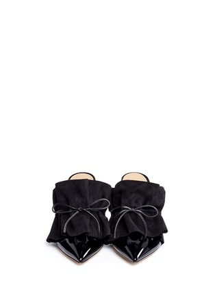 Front View - Click To Enlarge - ALEXANDER WHITE - 'Issey' suede ruffle patent leather mules