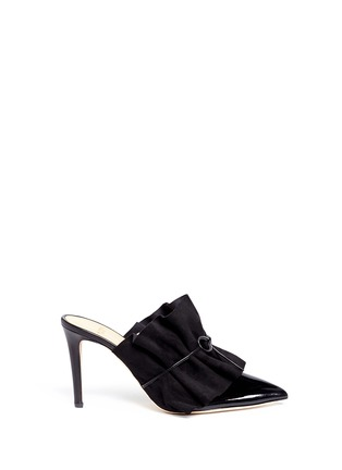 Main View - Click To Enlarge - ALEXANDER WHITE - 'Issey' suede ruffle patent leather mules