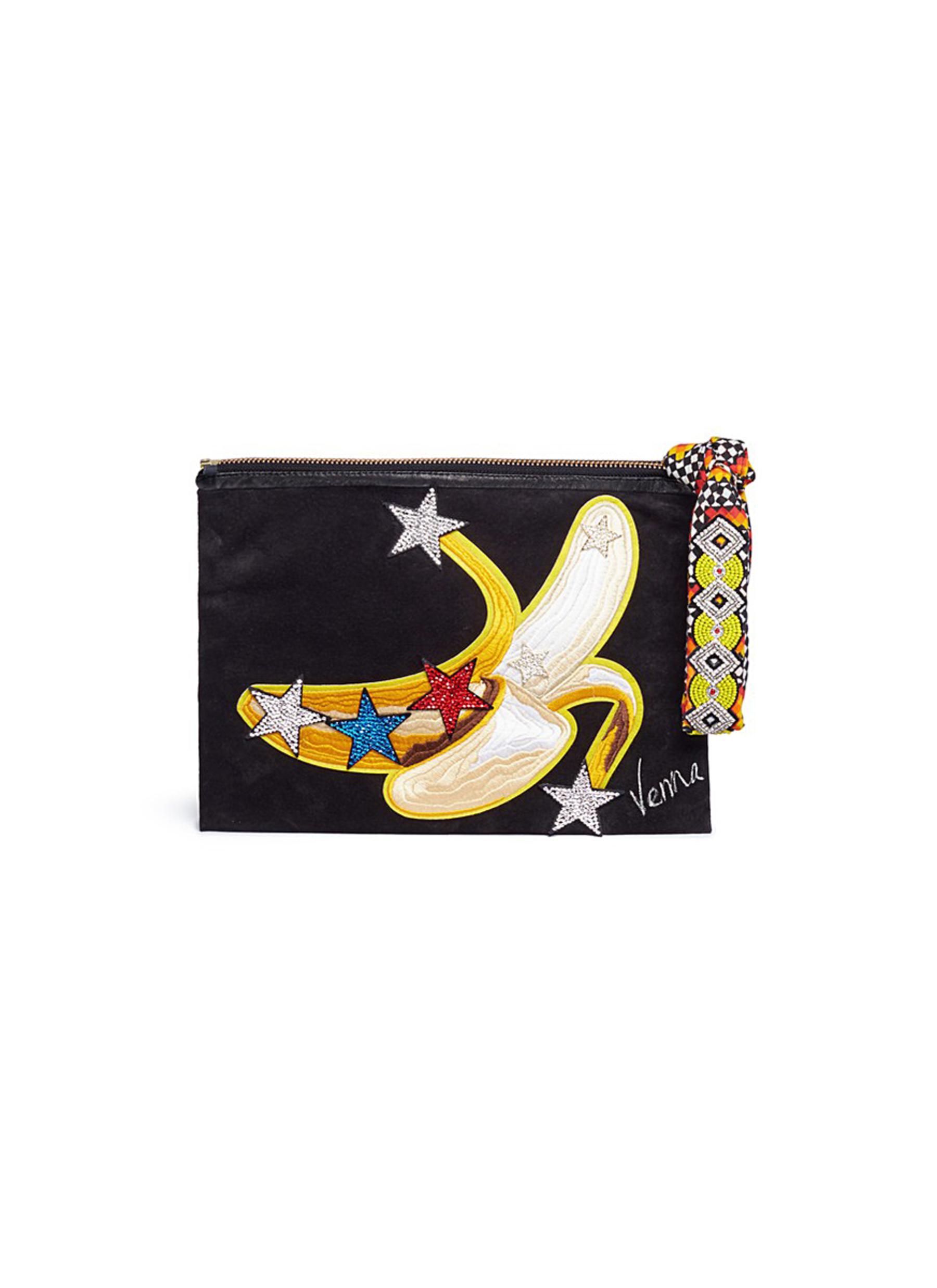 VENNA Banana Appliqué Star Patch Suede Clutch