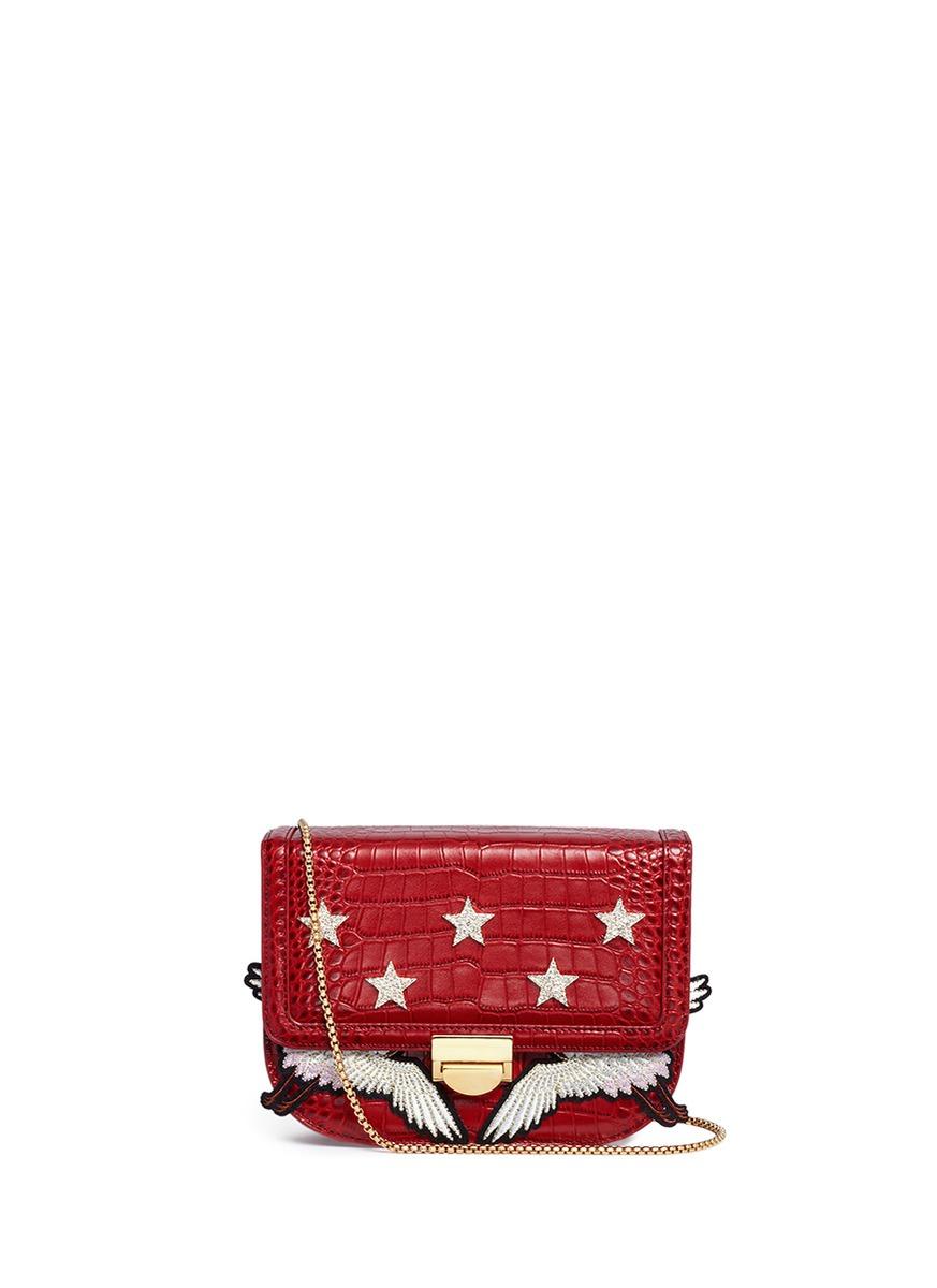 VENNA Cubic Zirconia Star Crane Patch Leather Bag