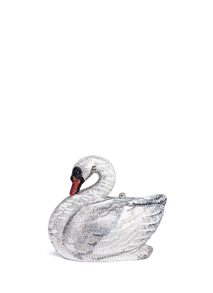 'Swan' Crystal Pavé Minaudière in Silver
