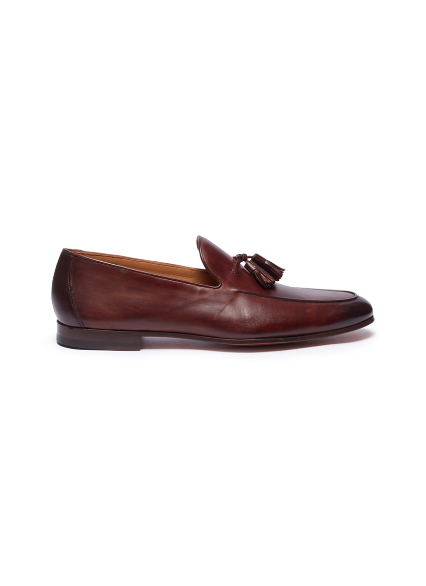 MAGNANNI Tassel Leather Loafers in Beige