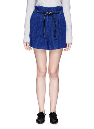 Main View - Click To Enlarge - 3.1 Phillip Lim - 'Origami' drawstring waist pleated bouclé paperbag shorts