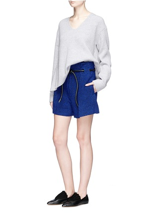 Figure View - Click To Enlarge - 3.1 Phillip Lim - 'Origami' drawstring waist pleated bouclé paperbag shorts