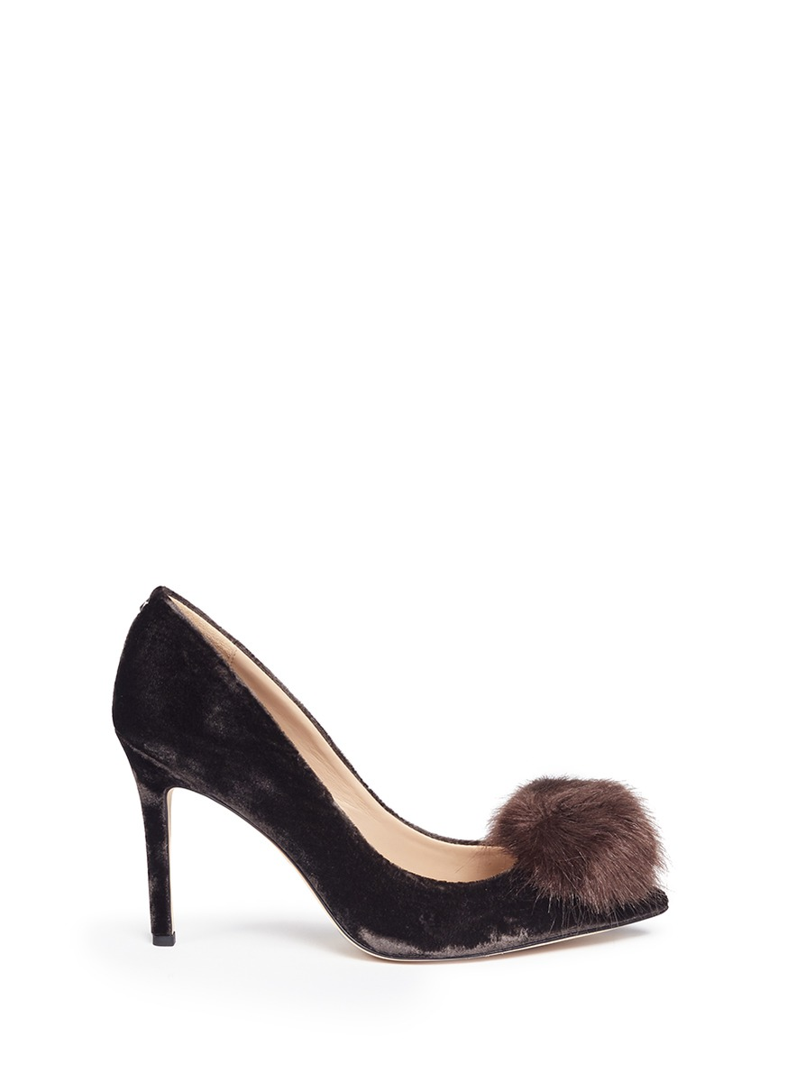 Haroldson Pump With Faux Fur Pompom, Steel Grey Velvet