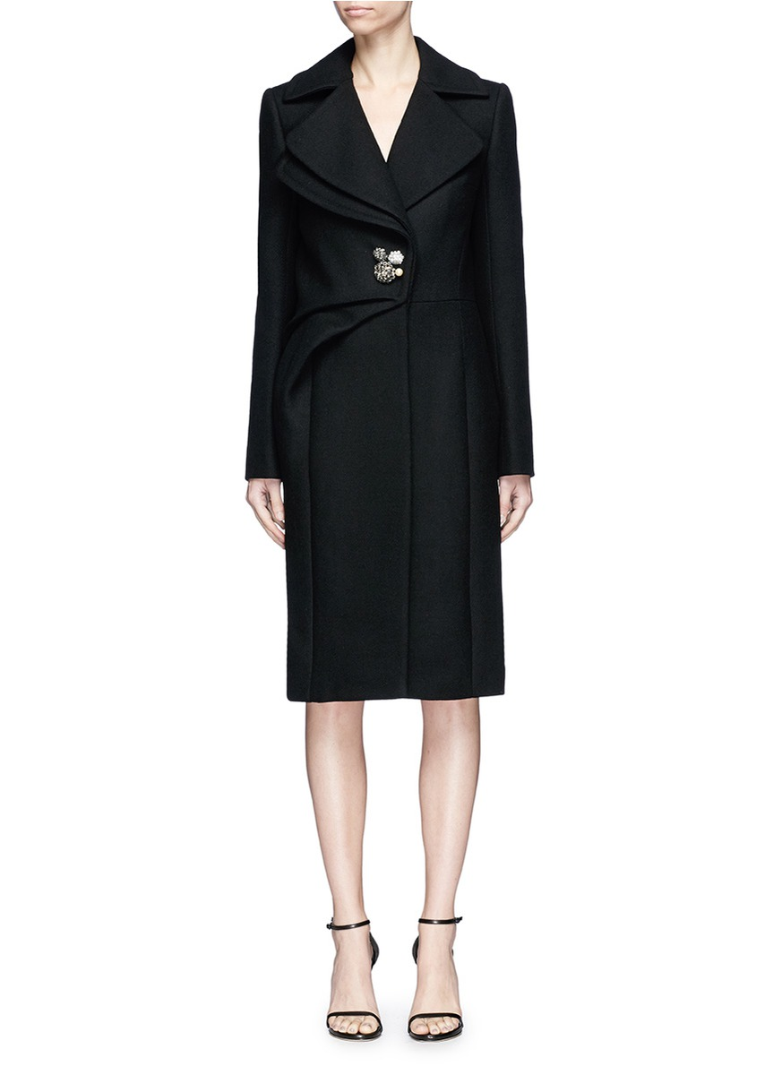 LANVIN Swavorski Crystal Brooch Pleated Wool Blend Coat, Black