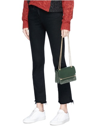 Front View - Click To Enlarge - STRATHBERRY - 'East/West' mini leather flap suede crossbody bag