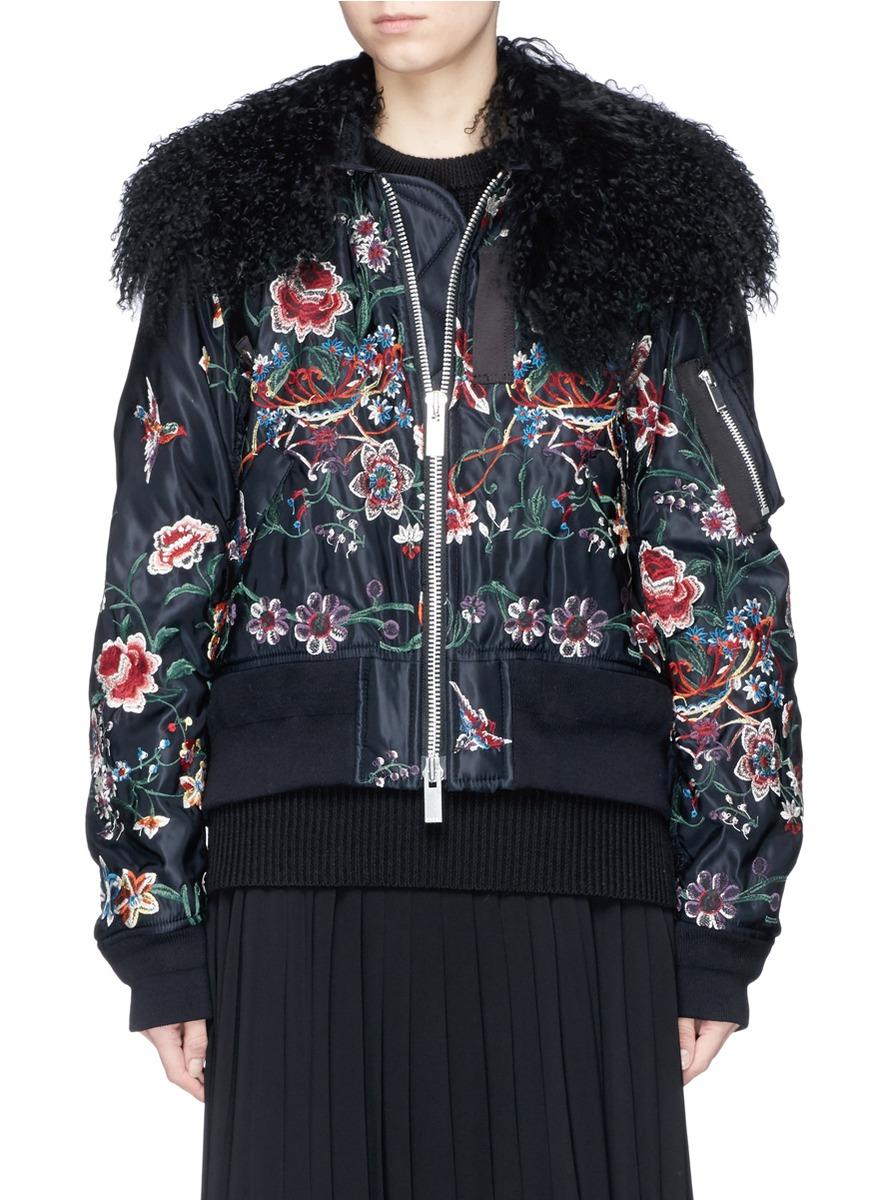 Faux Fur Floral Embroidered Padded Bomber Jacket, Black