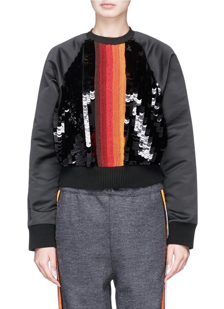 No Ka'oi 'nalu' Bead And Paillette Embellished Cropped Taffeta Sweatshirt
