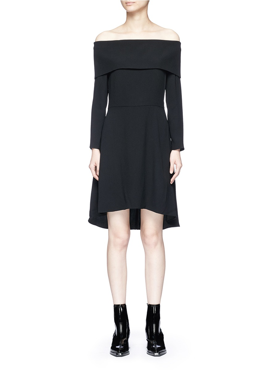 Woman Kensington Off-The-Shoulder Crepe Dress Black from Theory
