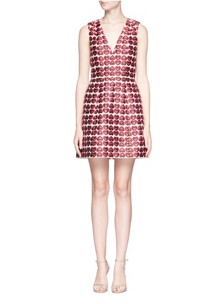 Main View - Click To Enlarge - alice + olivia - 'Patty 'heart jacquard lantern dress