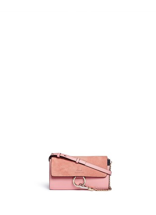 Main View - Click To Enlarge - Chloé - 'Faye' suede flap leather crossbody wallet