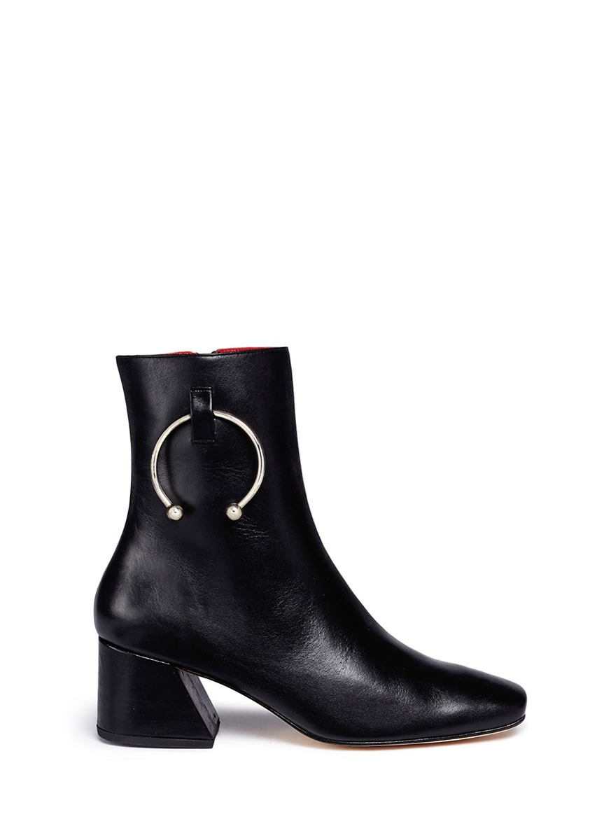 Nizip barbell hoop leather ankle boots by Dorateymur