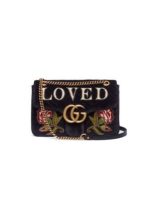 Main View - Click To Enlarge - Gucci - 'GG Marmont' slogan floral appliqué matelassé velvet crossbody bag