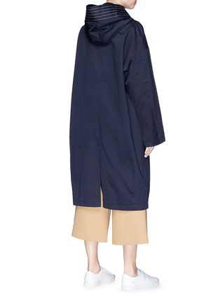 Back View - Click To Enlarge - FFIXXED STUDIOS - Stripe oversized cotton twill hooded coat