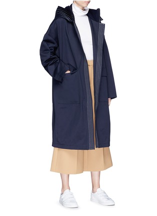 Figure View - Click To Enlarge - FFIXXED STUDIOS - Stripe oversized cotton twill hooded coat