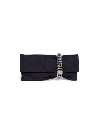 Main View - Click To Enlarge - Jimmy Choo - 'Chandra' jewelled bracelet suede clutch