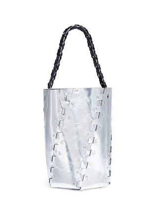 Detail View - Click To Enlarge - PROENZA SCHOULER - 'Hex' stud medium interlocked metallic leather panel bucket bag
