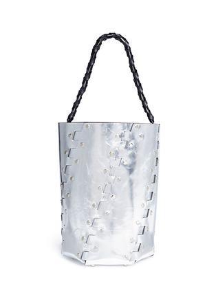 Main View - Click To Enlarge - PROENZA SCHOULER - 'Hex' stud medium interlocked metallic leather panel bucket bag