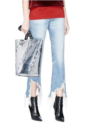 Figure View - Click To Enlarge - PROENZA SCHOULER - 'Hex' stud medium interlocked metallic leather panel bucket bag
