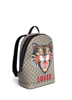 Gucci 'LOVED' angry cat print GG supreme canvas backpack