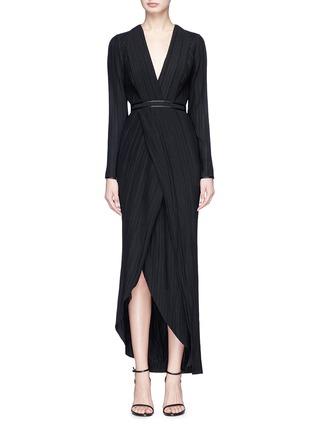 Main View - Click To Enlarge - Galvan London - Mock wrap plissé pleated dress