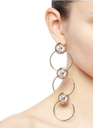 Figure View - Click To Enlarge - EDDIE BORGO - Cubic zirconia tiered hoop earrings