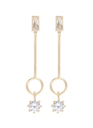Main View - Click To Enlarge - Eddie Borgo - Cubic zirconia ring bar drop earrings