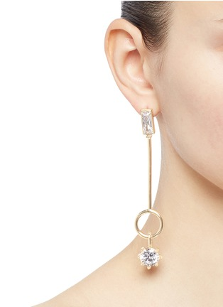 Figure View - Click To Enlarge - Eddie Borgo - Cubic zirconia ring bar drop earrings