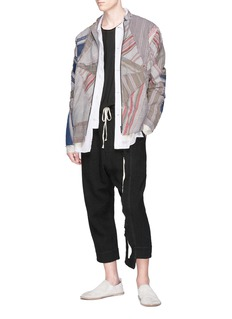 By Walid Patchwork stand collar jacket