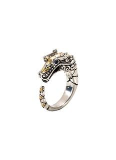 John Hardy Sapphire 18k yellow gold and silver naga ring