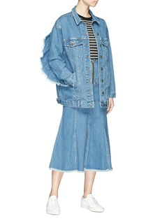 Nicholas Ruffle sleeve oversized denim jacket