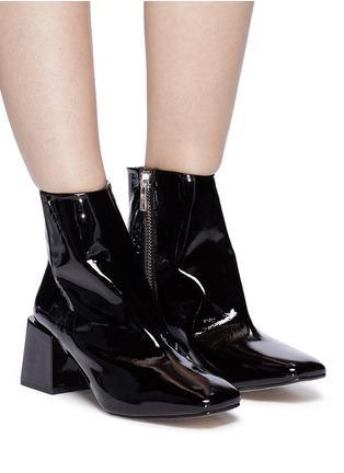 Figure View - Click To Enlarge - LOQ - 'Lazaro' block heel patent leather ankle boots
