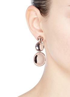 J.HARDYMENT '3 Round Thumbprint' 14k rose gold silver coin drop earrings