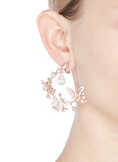 Anabela Chan 'Butterfly Garland' diamond 18k rose gold statement earrings