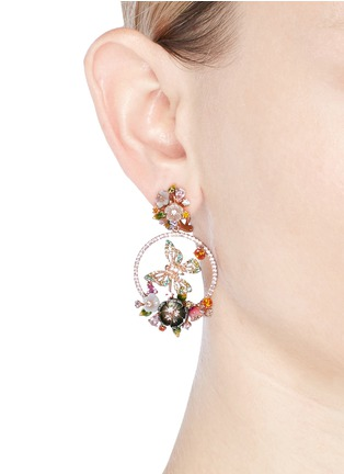 Figure View - Click To Enlarge - Anabela Chan - 'Butterfly' 18k rose gold wreath earrings